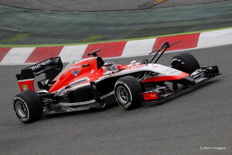 Max Chilton in the Marussia MR03 in Barcelona