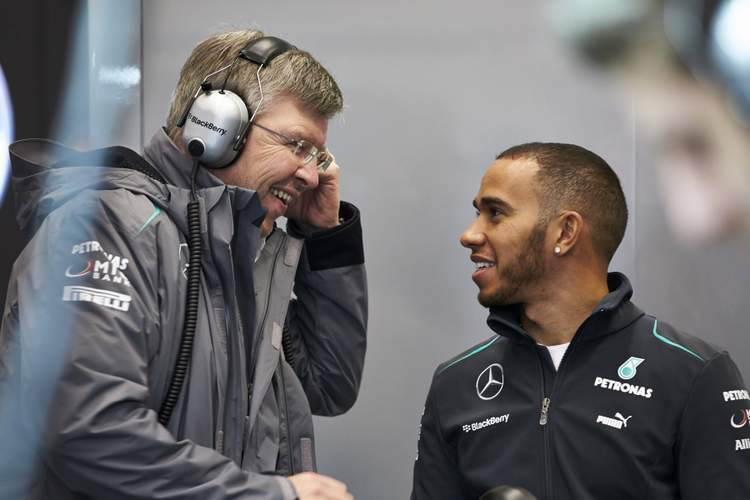 Lewis Hamilton Ross Brawn Mercedes Jerez Test