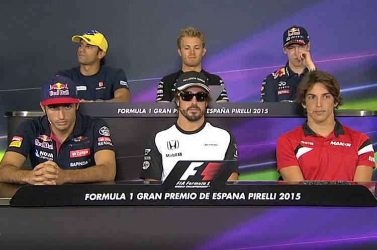 Felipe Nasr (Sauber), Nico Rosberg (Mercedes), Daniil Kvyat (Red Bull Racing), Carlos Sainz (Toro Rosso), Fernando Alonso (McLaren) and Roberto Merhi (Manor)