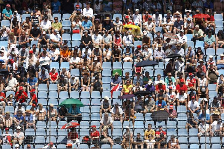 HOCKENHEIM, GERMANY - JULY 19: Fans watch the action during qualifying ahead of the German Grand Prix at Hockenheimring on July 19, 2014 in Hockenheim, Germany. (Photo by Drew Gibson/Getty Images)