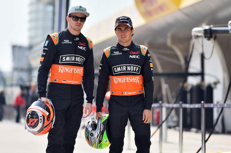 (L to R): Nico Hulkenberg (GER) Sahara Force India F1 with team mate Sergio Perez (MEX) Sahara Force India F1.Chinese Grand Prix, Thursday 9th April 2015. Shanghai, China.