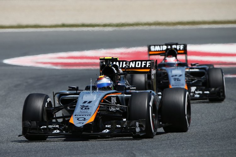 Sergio Perez (MEX) Sahara Force India F1 VJM08 leads team mate Nico Hulkenberg (GER) Sahara Force India F1 VJM08.Spanish Grand Prix, Sunday 10th May 2015. Barcelona, Spain.
