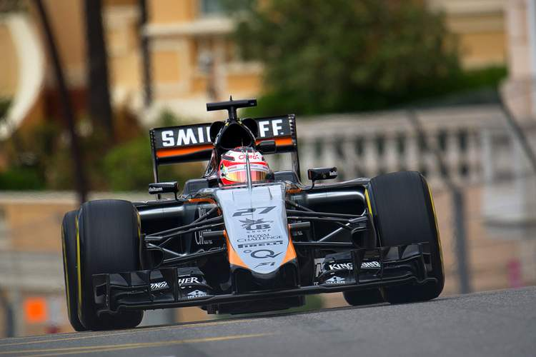 Nico Hulkenberg (GER) Sahara Force India F1 VJM08.Monaco Grand Prix, Thursday 21st May 2015. Monte Carlo, Monaco.