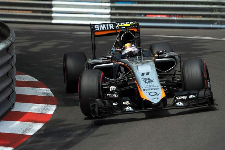 Sergio Perez (MEX) Sahara Force India F1 VJM08.Monaco Grand Prix, Saturday 23rd May 2015. Monte Carlo, Monaco.