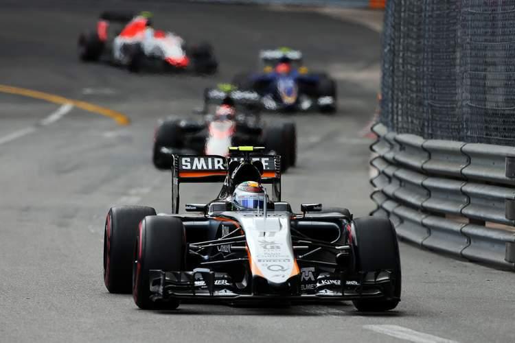 Sergio Perez (MEX) Sahara Force India F1 VJM08.Monaco Grand Prix, Sunday 24th May 2015. Monte Carlo, Monaco.