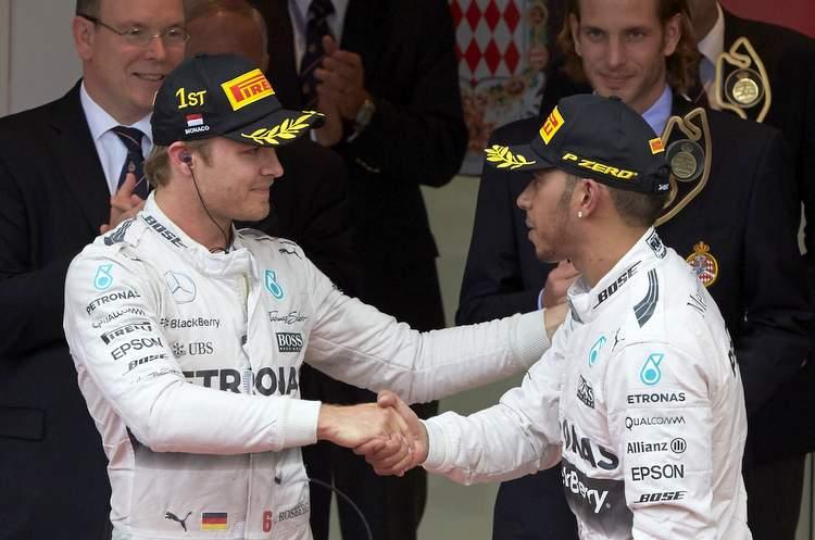 Rosberg Hamilton Monaco podium