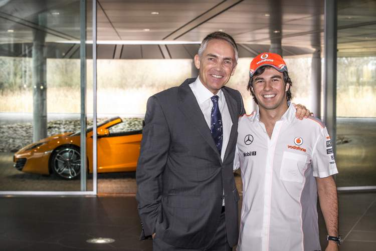 Sergie Perez first day at McLaren Woking with Martin Whitmarsh