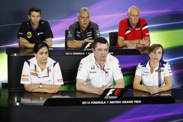 Matthew Carter (Lotus), Vijay Mallya (Force India), John Booth (Manor), Monisha Kaltenborn (Sauber), Eric Boullier (McLaren) and Claire Williams (Williams)