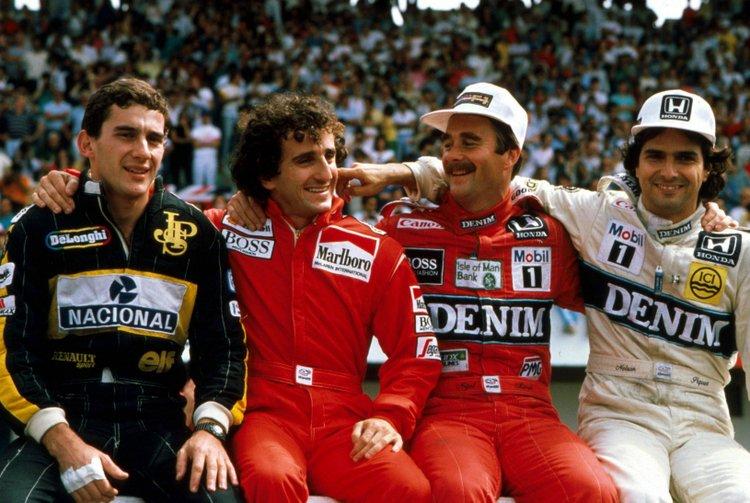 Senna Prost Mansell Piquet F1 drivers