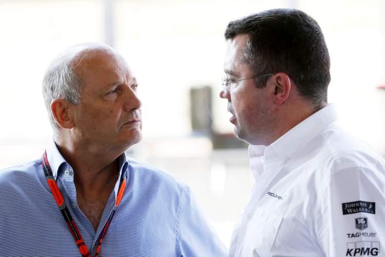 Ron Dennis, Executive Chairman, McLaren Automotive with Eric Boullier, Racing Director, McLaren.