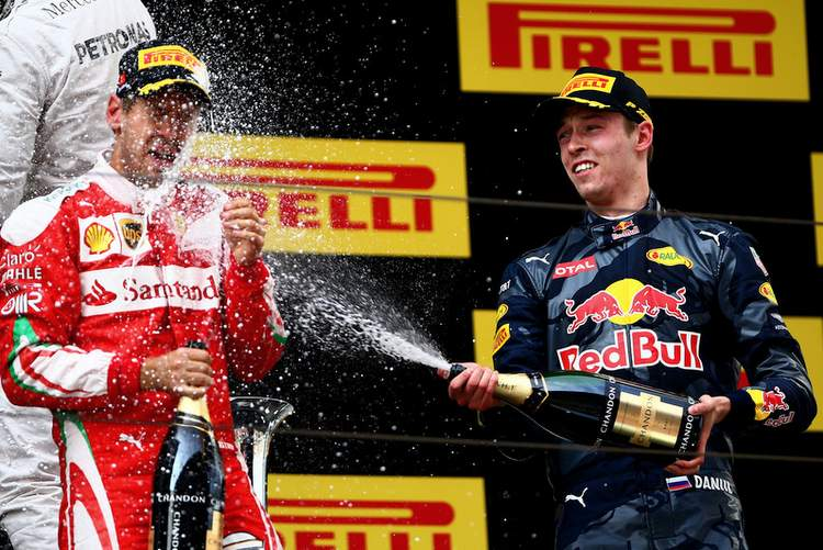 Sebastian+Vettel+F1+Grand+Prix+China+Daniil Kvyat podium