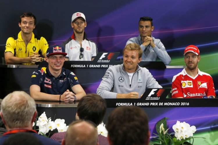 drivers' press conference ahead of the Monaco Grand Prix weekend, Round 6 of the 2016 Formula 1 World Championship, featuring: Jolyon Palmer (Renault), Romain Grosjean (Haas), Pascal Wehrlein (Manor), Max Verstappen (Red Bull Racing), Nico Rosberg(Mercedes) and Sebastian Vettel (Ferrari),
