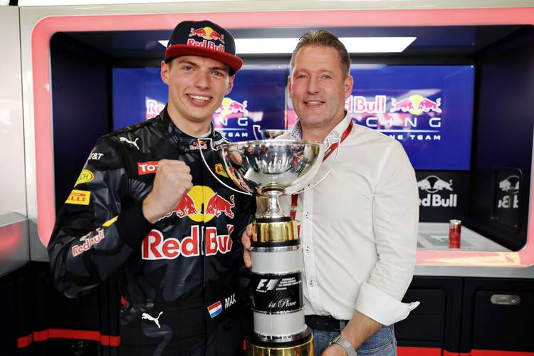MONTMELO, SPAIN - MAY 15: Max Verstappen of Netherlands and Red Bull Racing celebrates his first F1 win with father Jos Verstappen during the Spanish Formula One Grand Prix at Circuit de Catalunya on May 15, 2016 in Montmelo, Spain. (Photo by Mark Thompson/Getty Images)
