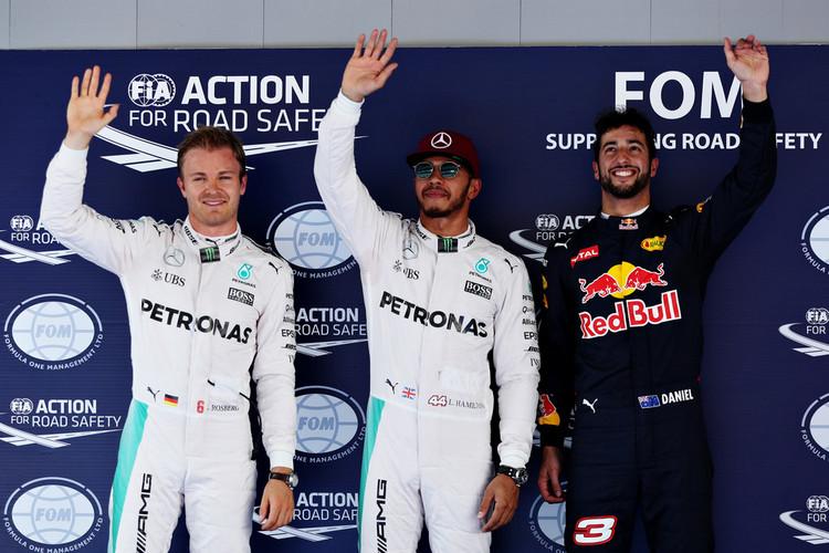 Spanish+F1+Grand+Prix+pole winner Lewis Hamilton (Mercedes), second placed Nico Rosberg (Mercedes) nd third placed Daniel Ricciardo (Red Bull).