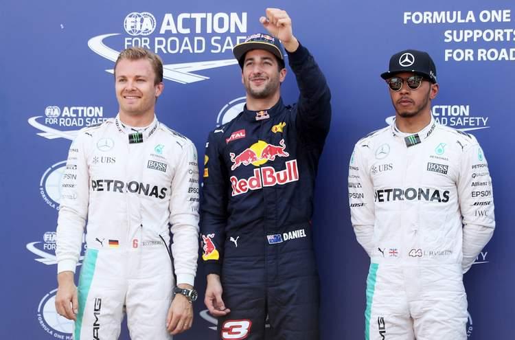 Top three qualifiers, Daniel Ricciardo of Australia and Red Bull Racing, Nico Rosberg of Germany and Mercedes GP and Lewis Hamilton