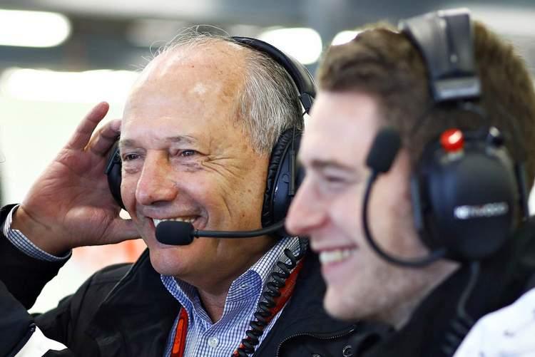 Ron Dennis and Stoffel Vandoorne in the garage.