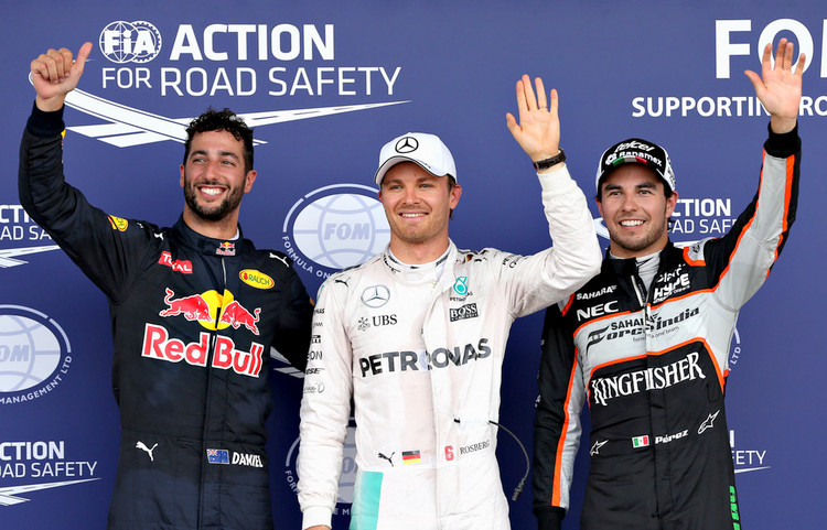 European Grand Prix qualifying press conference at Baku Street Circuit, featuring top three: pole winner Nico Rosberg (Mercedes), second placed Sergio Perez (Force India) and third placed Daniel Ricciardo (Red Bull Racing).