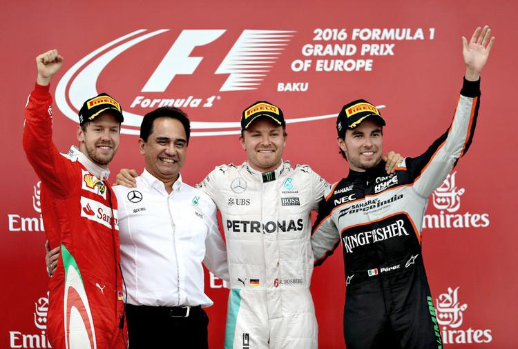 European+F1+Grand+Prix+baku podium perez rosberg vettel