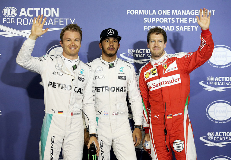 Lewis Hamilton of Great Britain and Mercedes GP, Nico Rosberg of Germany and Mercedes GP and Sebastian Vettel of Germany and Ferrari