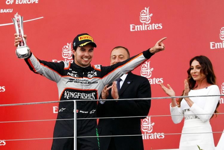 Sergio Perez (MEX) Sahara Force India F1 celebrates his third position on the podium.European Grand Prix, Sunday 19th June 2016. Baku City Circuit, Azerbaijan.