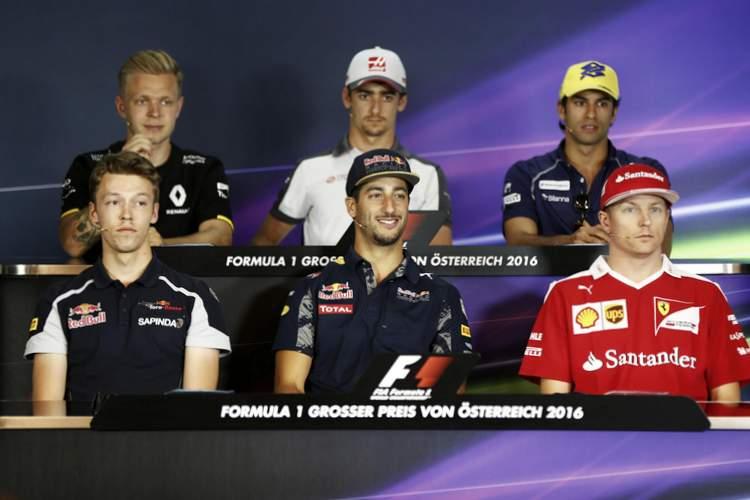 2016 Austrian Grand Prix drivers' press conference at Red Bull Ring, featuring: Esteban Gutierrez (Haas), Felipe Nasr (Sauber), Kevin Magnussen (Renault), Daniil Kvyat (Toro Rosso), Daniel Ricciardo (Red Bull Racing), Kimi Raikkonen (Ferrari).