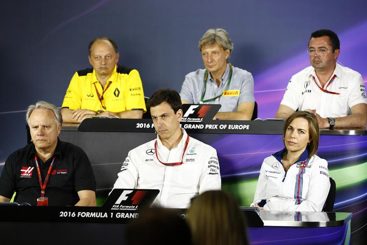 FIA hosted team representatives press conference on the first day of the European Grna dprix weekend, at Baku Street Circuit, featuring: Frederic Vasseur (Renault), Roberto Boccafogli (Pirelli), Eric Boullier (McLaren), Gene Haas (Haas), Toto Wolff (Mercedes), Claire Williams (Williams)