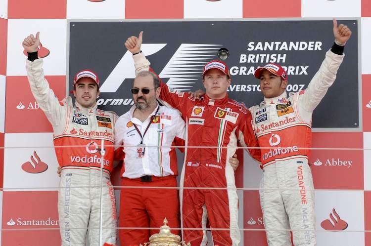 Raikkonen Hamilton Alonso British Grand Prix 2007
