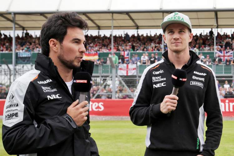 (L to R): Sergio Perez (MEX) Sahara Force India F1 and team mate Nico Hulkenberg (GER) Sahara Force India F1 with Rachel Brookes (GBR) Sky Sports F1 Reporter and Martin Brundle (GBR) Sky Sports Commentator.British Grand Prix, Thursday 7th July 2016. Silverstone, England.