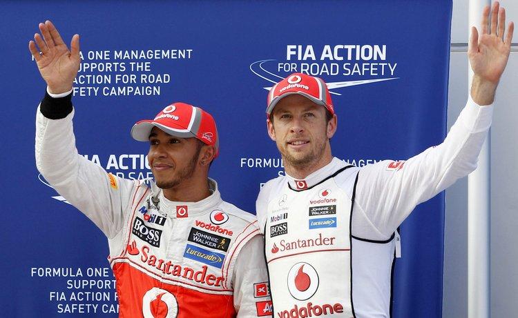 Lewis Hamilton and Jenson Button at Malaysian GP