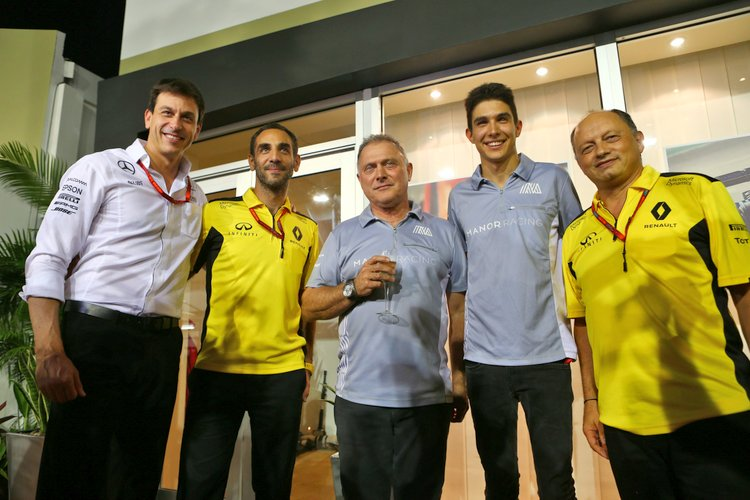 Esteban Ocon (FRA) Manor Racing celebrates his 20th birthday with (L to R): Toto Wolff (GER) Mercedes AMG F1 Shareholder and Executive Director; Cyril Abiteboul (FRA) Renault Sport F1 Managing Director; Dave Ryan (NZL) Manor Racing Racing Director; and Frederic Vasseur (FRA) Renault Sport F1 Team Racing Director. 16.09.2016. Formula 1 World Championship, Rd 15, Singapore Grand Prix, Marina Bay Street Circuit, Singapore, Practice Day.