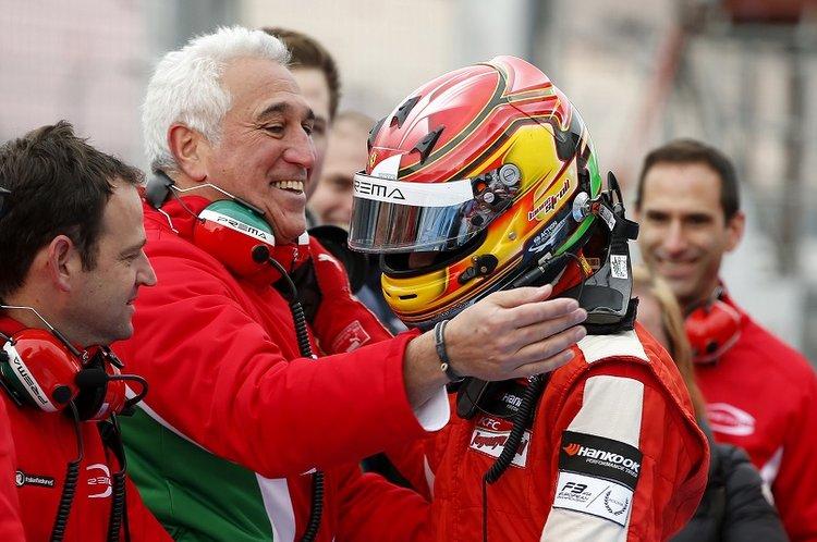 Lawrence Stroll congratulating his son 25 Lance Stroll (CAN, Prema Powerteam, Dallara F312 – Mercedes-Benz), FIA Formula 3 European Championship, round 11, race 1, Hockenheim (GER) - 16. - 18. October 2015