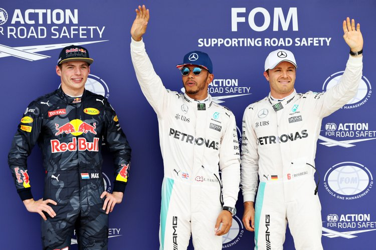 NORTHAMPTON, ENGLAND - JULY 09: Top three qualifiers Lewis Hamilton of Great Britain and Mercedes GP, Nico Rosberg of Germany and Mercedes GP and Max Verstappen of Netherlands and Red Bull Racing celebrate in parc ferme during qualifying for the Formula One Grand Prix of Great Britain at Silverstone on July 9, 2016 in Northampton, England. (Photo by Mark Thompson/Getty Images) // Getty Images / Red Bull Content Pool // P-20160709-00494 // Usage for editorial use only // Please go to www.redbullcontentpool.com for further information. //