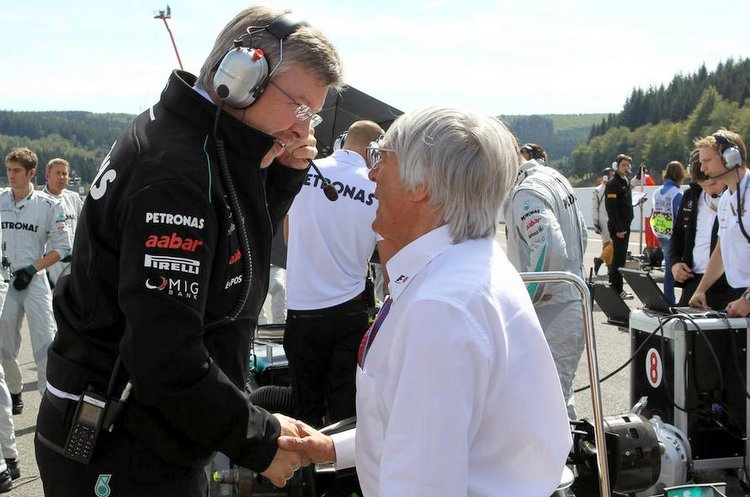 02 09 2012 Race Bernie Ecclestone GBR President and CEO of Formula One Management and Ross Braw