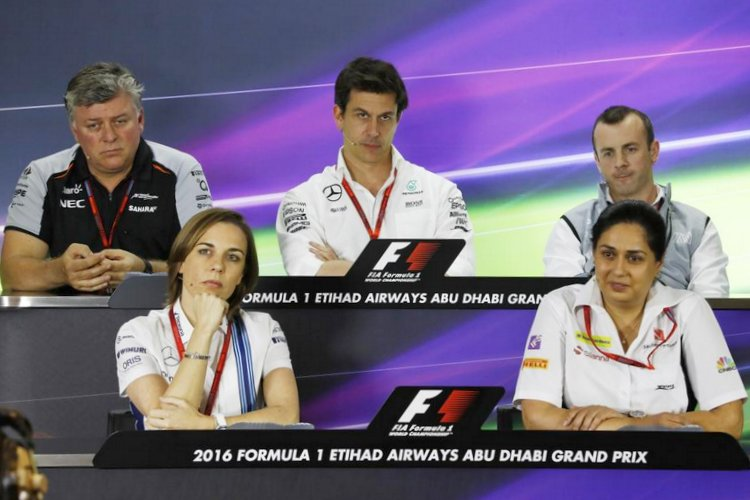 team managers/team representatives press conference on day one of the 2016 Abu Dhabi Grand Prix, at Yas Marina Circuit, featuring: Toto Wolff (Mercedes), Stephen Fitzpatrick (Manor), Otmar Szafnauer (Force India), Monisha Kaltenborn (Sauber), and Claire Williams (Williams).