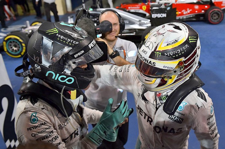 nico rosberg, lewis hamilton, world champion, decider, winner, mercedes, yas marina circuit, celebrate, celebration, mercedes team, aftermath,