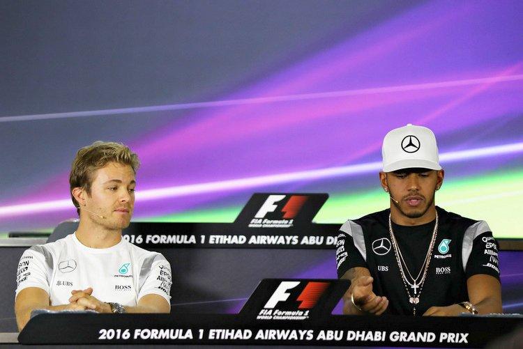 Lewis Hamilton Nico Rosberg press conference yas marina circuit