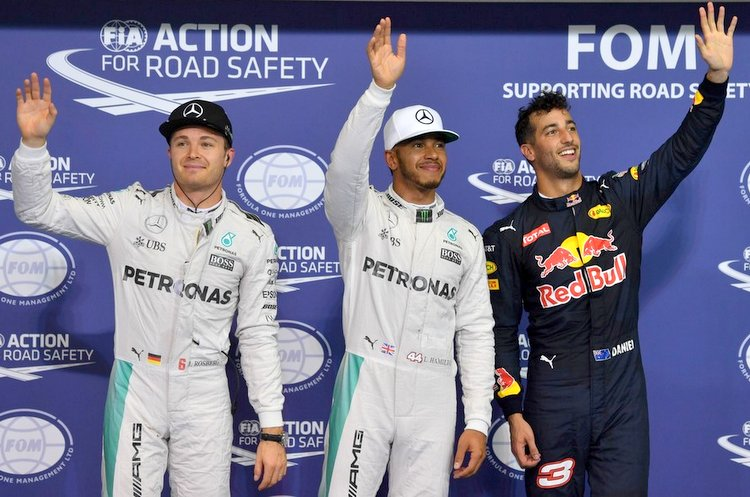 2016 Abu Dhabi Grand Prix qualifying press conference at Yas Marina Circuit, featuring top three:  pole position winner Lewis Hamilton (Mercedes), second Nico Rosberg (Mercedes) and Daniel Ricciardo (Red Bull Racing)