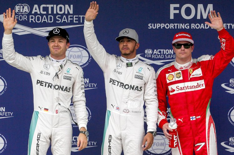 Brazilian Grand Prix, Round 20 of the 2016 Formula 1 World Championship, at Interlagos featuring the top three: pole winner Lewis Hamilton (Mercedes), second placed Nico Rosberg (Mercedes) and third placed Kimi Raikkonen (Ferrari).