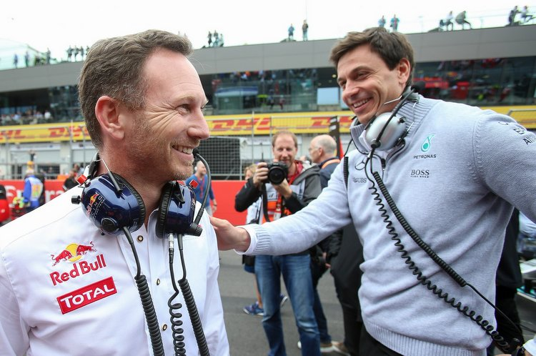 SPIELBERG,AUSTRIA,03.JUL.16 - MOTORSPORTS, FORMULA 1 - Grand Prix of Austria, Red Bull Ring. Image shows team principal Christian Horner (Red Bull Racing) and executive director Toto Wolff (Mercedes GP)