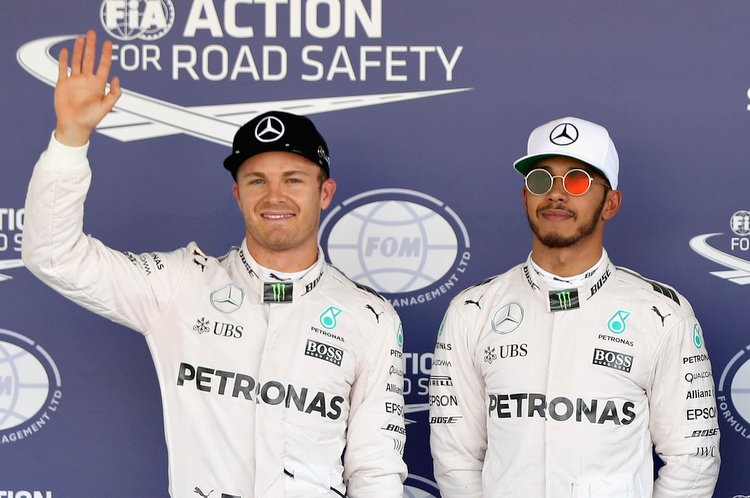 MEXICO CITY, MEXICO - OCTOBER 29: Top three qualifiers Lewis Hamilton of Great Britain and Mercedes GP, Nico Rosberg of Germany and Mercedes GP and Max Verstappen of Netherlands and Red Bull Racing in parc ferme during qualifying for the Formula One Grand Prix of Mexico at Autodromo Hermanos Rodriguez on October 29, 2016 in Mexico City, Mexico. (Photo by Mark Thompson/Getty Images) // Getty Images / Red Bull Content Pool // P-20161029-01257 // Usage for editorial use only // Please go to www.redbullcontentpool.com for further information. //