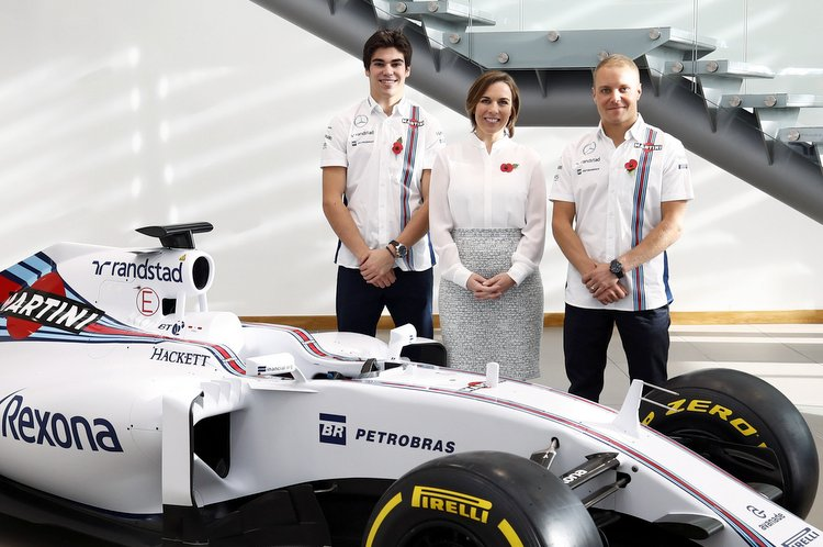 Williams F1 Factory, Grove, Oxfordshire. Thursday 03 November 2016. Lance Stroll, Claire Williams and Valtteri Bottas. Photo: Glenn Dunbar/Williams ref: Digital Image _X4I0305