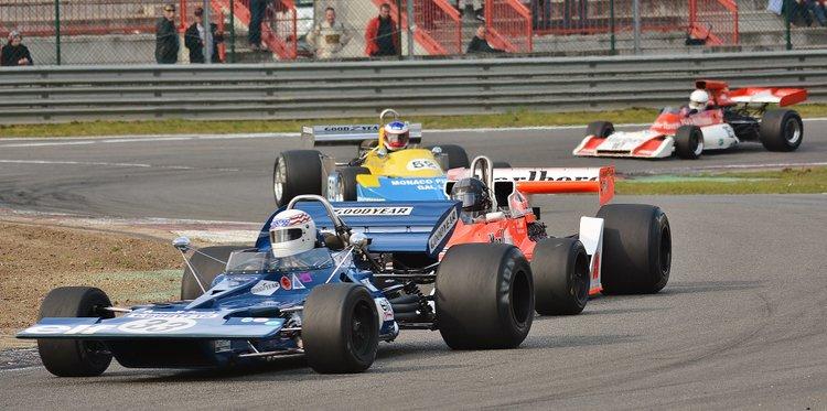 Zolder Masters Historic + Belcar-John Delane - Tyrrell 001- Frank Lyons - McLaren M26 leads Frits van Eerd in the March 761