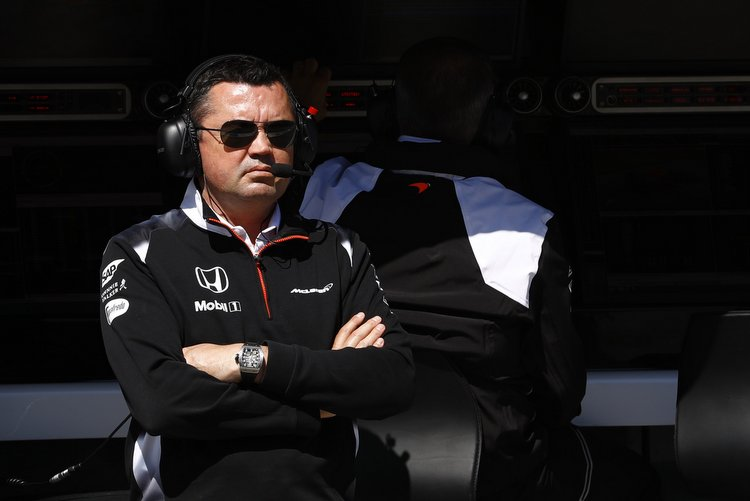 Eric Boullier on the pit wall.