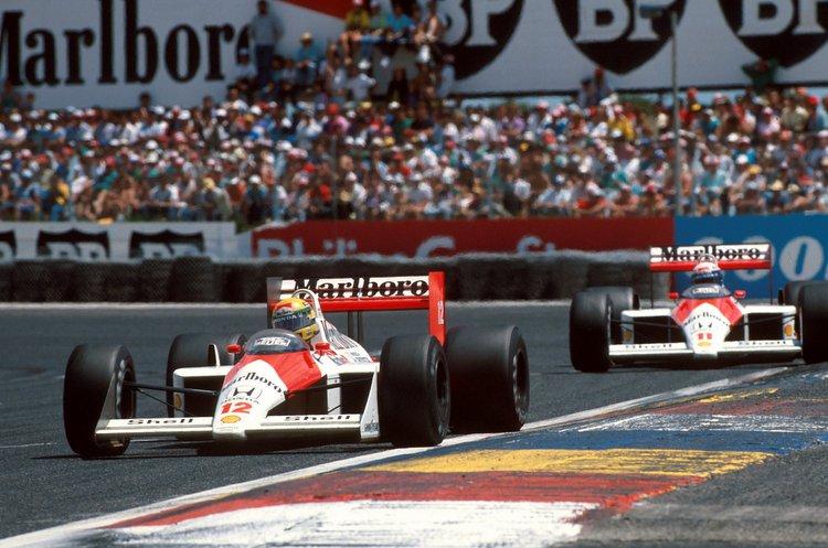 Ayrton Senna (BRA) McLaren MP4/4 leads team mate Alain Prost. French Grand Prix, Paul Ricard, 3 July 1988
