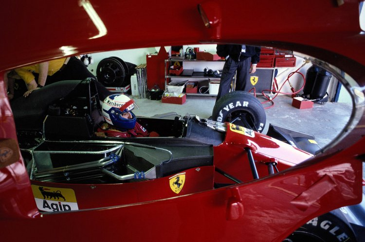 Alain Prost, driver of the #27 Scuderia Ferrari SpA Ferrari 643 Ferrari 3.5 V12 during pre season testing on 1st February 1991 at the Autodromo Enzo e Dino Ferrari in Imola, San Marino.