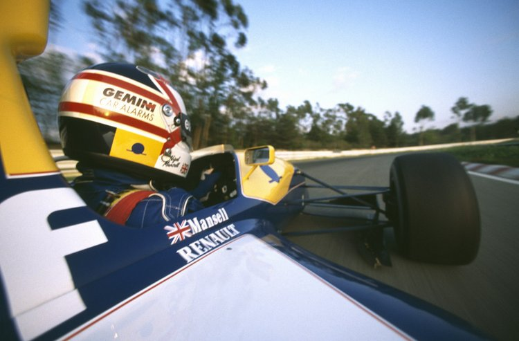 English racing driver Nigel Mansell during winter testing for the Williams-Renault Formula One team at the Autodromo do Estoril circuit, Portugal, December 1991.