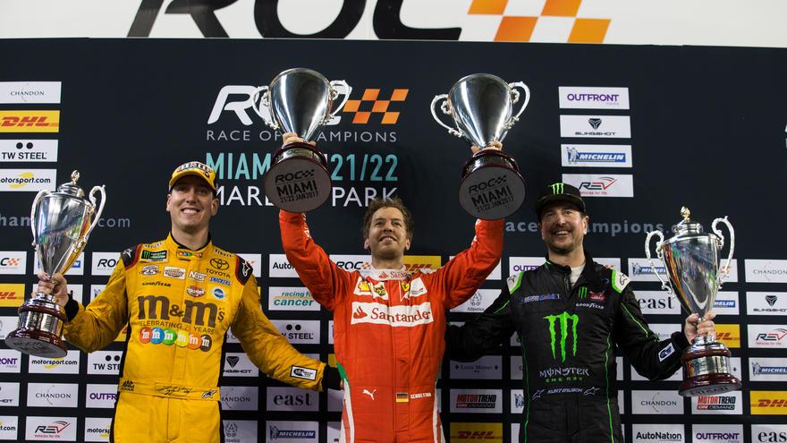 Sebastian Vettel Kyle Busch Kurt Busch ROC Nations Cup Miami,