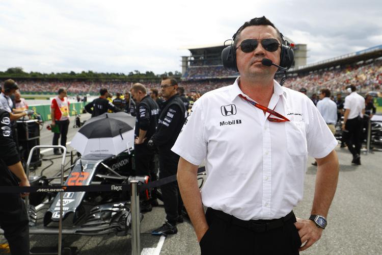 Eric Boullier, Racing Director, McLaren, on the grid.