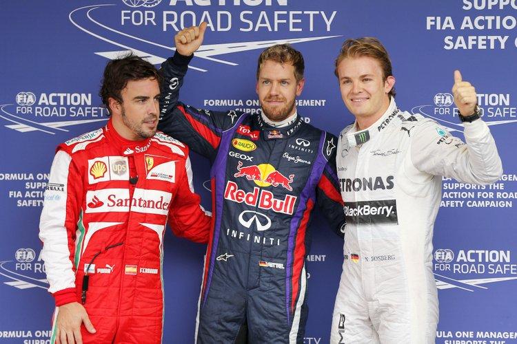 Fernando Alonso, Sebastian Vettel, Nico Rosberg