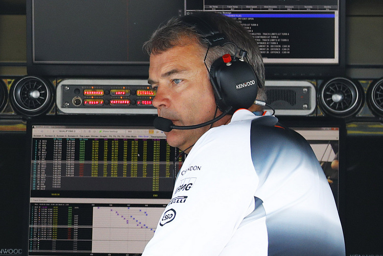 David Redding, Team Manager, on the pit wall.